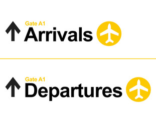 Arrival and departures airport signs