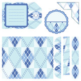 rhombus light blue seamless background and other elements poster