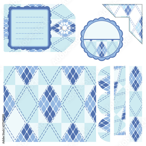 poster of rhombus light blue seamless background and other elements