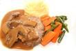 Hackbraten mit Champignonsauce ,Gemüse und Fartoffelpüree