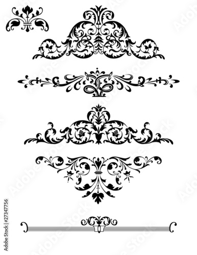 Decorative design elements: Borders, Ornaments, Swirls
