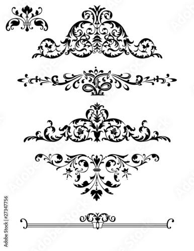 Decorative design elements: Borders, Ornaments, Swirls