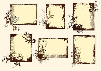 Sepia toned grunge floral frames