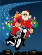Santa Claus riding a motorcycle