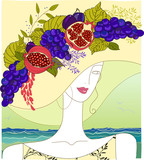 Hand-drawn portrait of a beauty with an opulent fruit hat poster