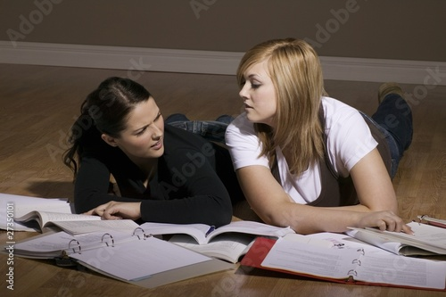 Two Women Studying On The Floor
