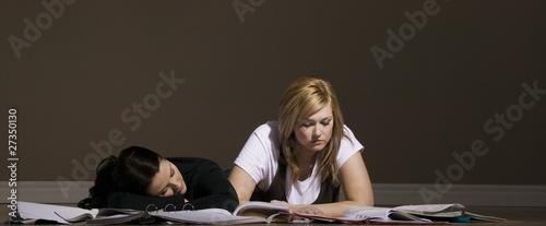 Two Women Studying And Sleeping