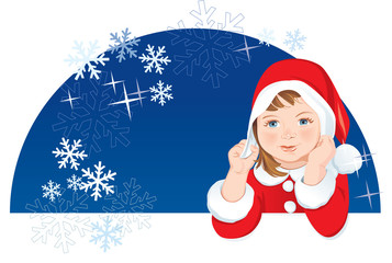 Christmas Dwarf, snowflakes, copy space. Vector