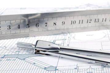 Ruler,compass and blueprint