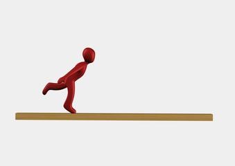 uomo su asse di equilibrio