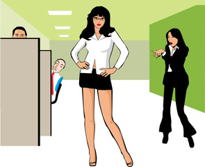 Woman with miniskirt at an office