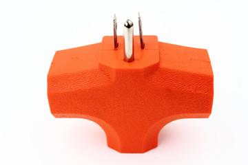 Orange 3 outlet electrical plug adapter