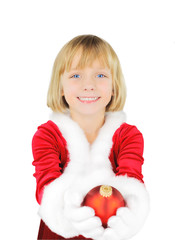 Cute little girl with Christmas ball