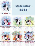 Set of month's calendars for 2011,  catrabbit creature