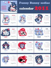Funny bunny zodiac calendar, month's set.