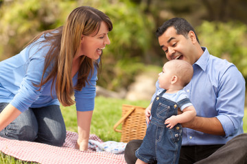 Joyful Mixed Race Family Playing In The Park