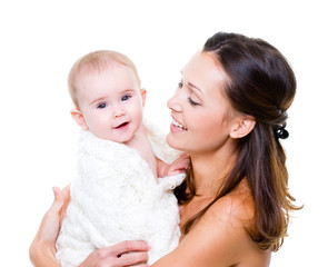 Happy mother with smiling baby on white