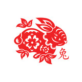 Papercut of 2011 Rabbit Lunar year symbol