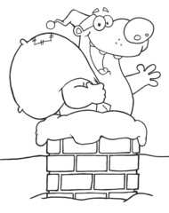 Outlined Happy Santa Bear Waving A Greeting In Chimney