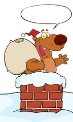 Bear Waving A Greeting In Chimney With Speech Bubble