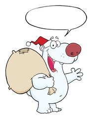 Happy Santa Polar Bear Waving A Greeting With Speech Bubble