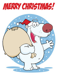 Merry Christmas Greeting With Polar Santa Bear