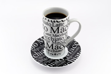 Black and white coffee mug with clipping path