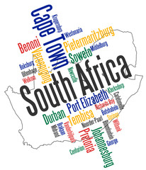 South Africa map and cities