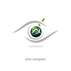logo entreprise, icône oeil maison