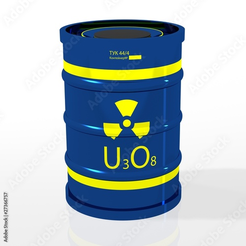 Transporno-packing container with uranium