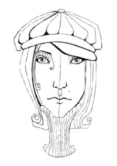illustrated cute girl with hat