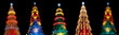 Five christmas tree in the night