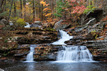 Autumn Waterfall in mountain with foliage