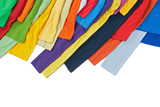 Sleeves of colorful clothing on white background poster