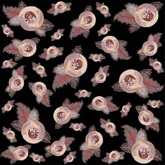 Retro floral background. Rose.