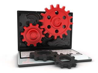Laptop and red gear