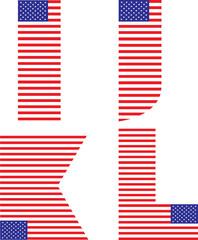 letters I, J,K L - American flag alphabet