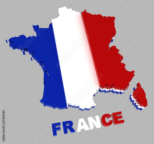 France, map with flag, isolated on grey, with clipping path