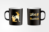 Mug with golden zodiac symbol of the rabbit of the year