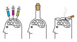Habits harmful to health. Smoking, drug addiction, alcoholism. poster