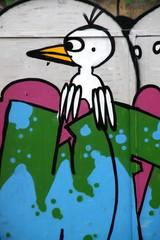 tag, graffiti, ,, oiseau