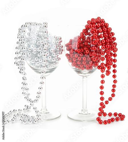 noël, verres et décoration