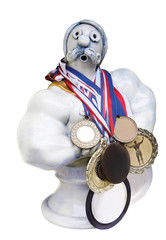Funny statuette of athlete