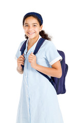 happy junior high student with backpack