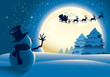 Lonely Snowman Waving to Santa Sleigh - 27394920