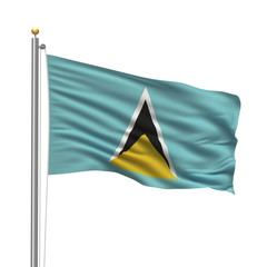 Flag of Saint Lucia waving in the wind in front of white