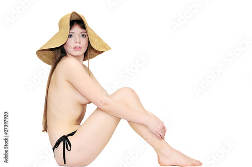 nude girl wearing hat