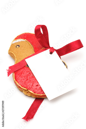 Christmas bird with a label