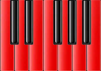 The keyboard of the classical piano with red keys