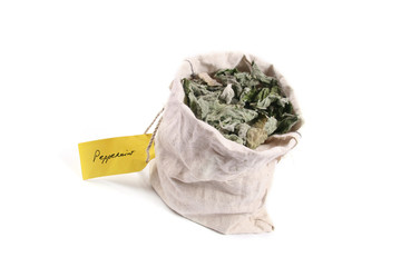 flax bag full of dried peppermint